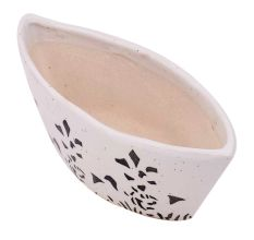 White Oval Ceramic Pot Hand painted Flower Pattern