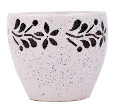 Fresh White Ceramic Pot Hand painted Black Floral Border on Top