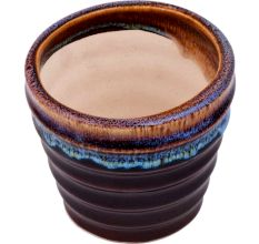 Handmade Dark Brown Striped Glazed Ceramic Pot