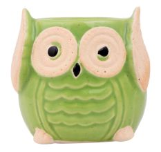 Cute Green Owl Ceramic Pot Planter