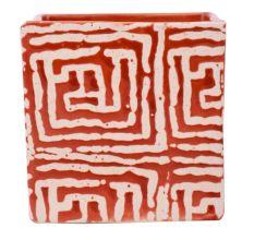 Red And White Maize Square Ceramic Pot Planter