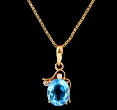 Single Oval Light Blue Topaz Stone And Diamonds 18K Gold Pendant For Women