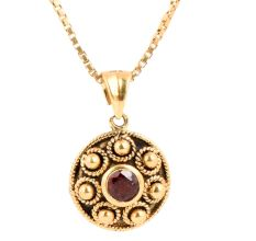 Gold Pendant Red Garnet Stone With Round Embossed Design Border
