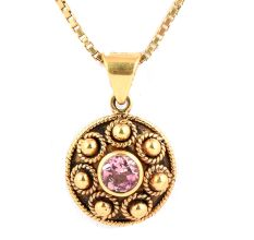 Round Embossed 18 k Gold Pendant With Single Turmouine Stone