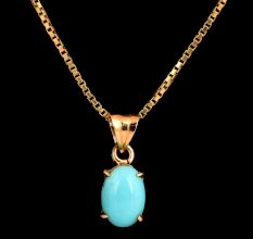 Single Oval Turquoise Stone 18 K Gold For Women