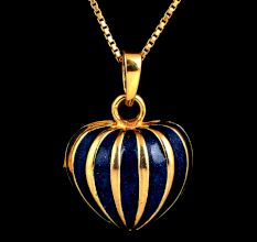 18 k Gold Enameled Blue Pumpkin Pendant For Women