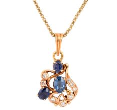 Artistic 18 k Gold Pendant With Blue Sapphire Stones and Diamonds