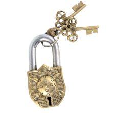 Brass Dhal Talwar Design Padlock With 2 Decorative Keys