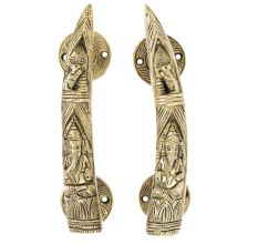 Brass Tusker Style Door Handles Carved With Lord Ganesha In Pair