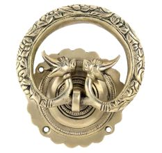 Hand Casted Exclusive Brass Elephant Motif Ring Door Knocker
