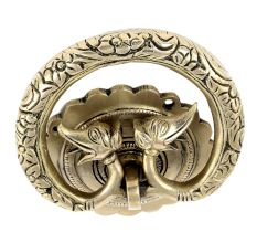 Hand Casted Exclusive Brass Elephant Motif Ring Door Knocker