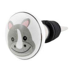 Hippo Flat Ceramic Wine Bottle Stopper