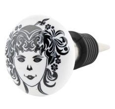 White Base Black Baby Flat Ceramic Wine Bottle Stopper