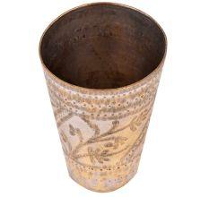 Faded leaf Design Engraved Brass Lassi Glass