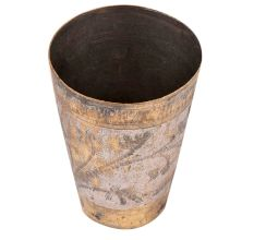 Used Brass Lassi Glass With Faded Design