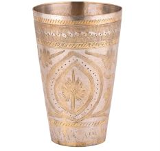 Brass Faded Floral Pattern On Lassi Glass