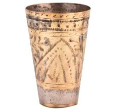 Brass Punjabi Glass With Faded Design Of Arch And Leafy Pattern