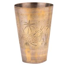 Brass Lassi Glass Deer And Palm Trees Carved Design