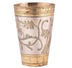 Brass Lassi Serving Glass With Golden Borders And Leaf Pattern