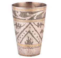 Brass Lassi Glass Arch Leafy Pattern