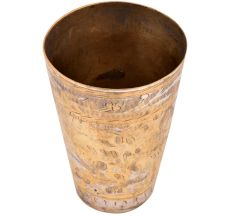 Brass Lassi Glass Faded Floral Pattern