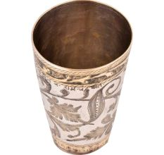 Brass Lassi Glass With Leafy Pattern Highlighted With Golden Color