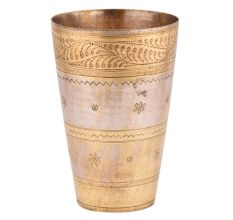 Brass Lassi Glass With Golden Decorative Border