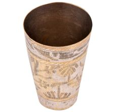 Brass Lassi Glass With Leaf Pattern And Gold Highlights