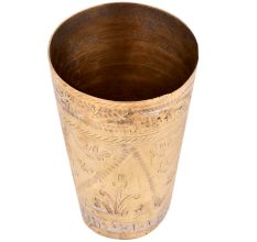 Golden Brass Lassi Glass With Faded Leafy Design