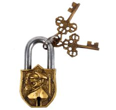 Brass Padlock with Relief of Australian Field Marshal With 2 Keys