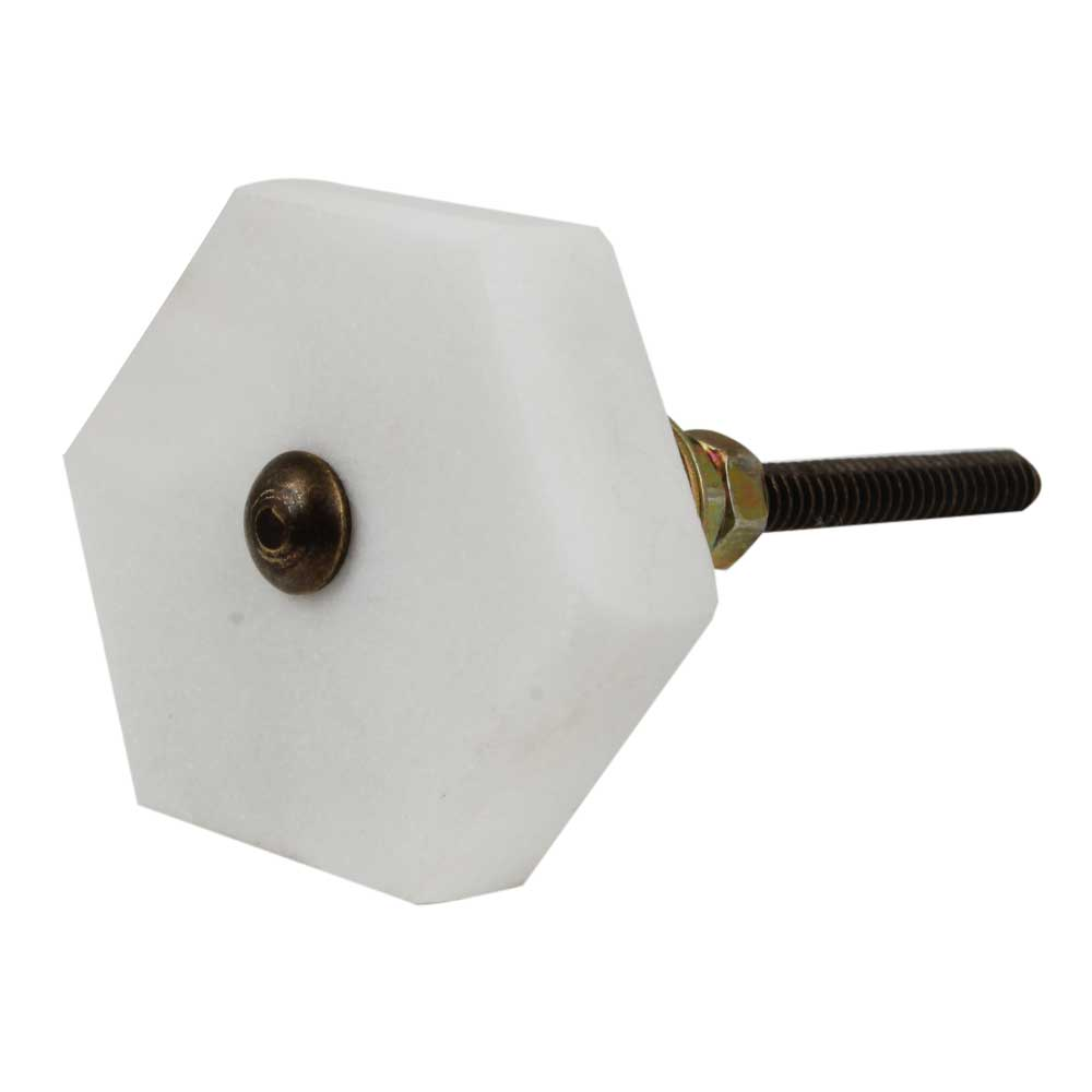 White Hexagon stone Cabinet knobs