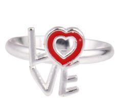 Love Charm Adjustable Silver Toe Ring Children Kids Jewelry