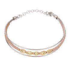 Stylish Multiline Adjustable 92.7 Sterling Silver Gold Plated Bracelet