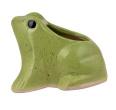 Handmade Green Glazed Ceramic Frog Shape Indoor PotAnd Planter