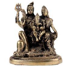 Handmade Golden Brass Shiv Parivar Statue