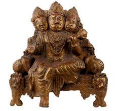 Handmade Brown Brass Three Face Lord Hanuman Statue Seated On Throne