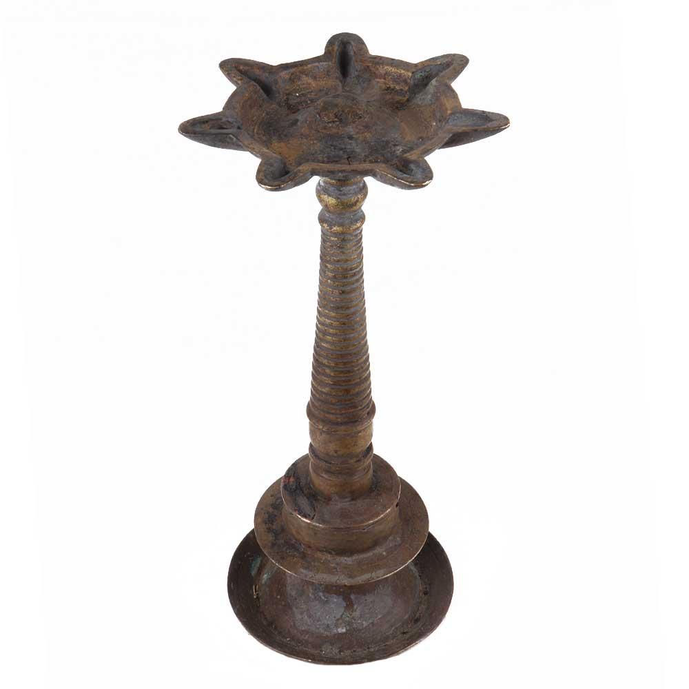Handmade Antique Brass Oil Lamp For Hindu Temple