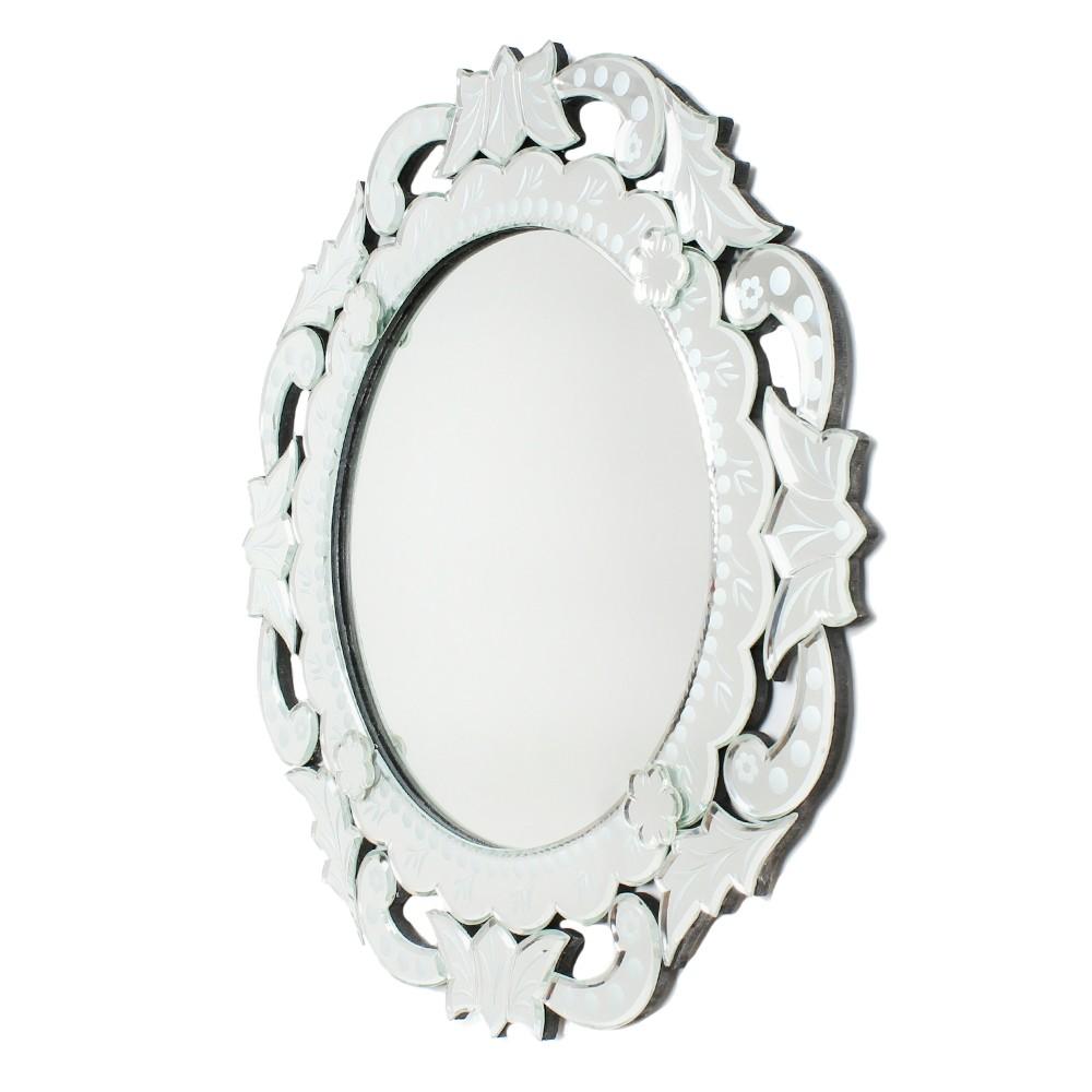 Handmade Silver Glass Venetian Round Mirror