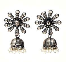 HandmadeOxidized Silver Jhumki Jhumka Earrings For Women With Sun Shape Stud