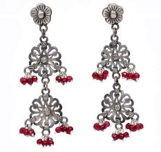 Handmade Oxidized Silver Floral Design Red Stone Dangle Earrings for Women and Girls