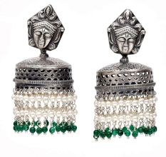 Handmade Oxidized Silver Goddess Face Drum Jhumkis With Pearl And Green Bead Tassels