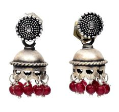 Handmade Oxidized Silver Jhumki Earrings With Green Beads Hanging