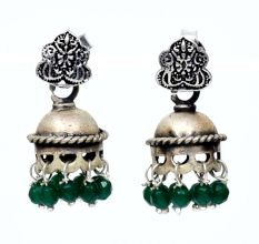 Handmade Oxidized Silver Jhumki Earring For Women With Engraved  Floral Stud And Green Beads