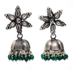 Handmade Oxidized Floral Antique Tribal Jhumki With Green Beads
