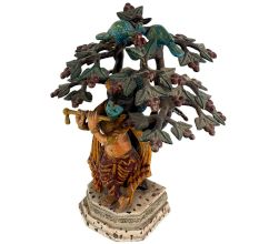 Flute-playing Lord Krishna Under The Brass Hand-sculpted Tree