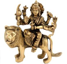 Goddess Durga Finely-sculpted In Metal