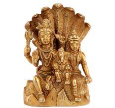 Handmade Golden Brass Shiva Parvati Ganesh Family Statue