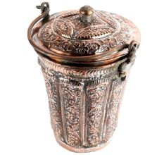 Handmade Brown Copper Floral Design Engraved Bucket And Lid