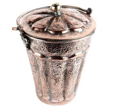 Handmade Brown Copper Bucket Or Balti With Carved Floral Design