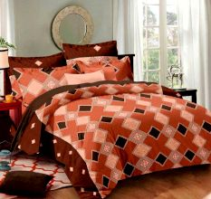 Living Concept Diamond Motif Rust Cotton Double Bed sheet With 2 Pillow Covers